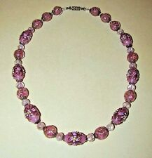 VTG Antique ~ VENETIAN Murano PINK WEDDING CAKE Sommerso GLASS Bead NECKLACE