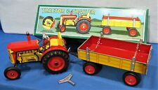 Tin  Farm Tractor & Trailer ~ Toy Wind-Up ~ 4 Speed Transmission ~ Original Box