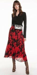 Stunning Cue Campaign Limited Edition Floral Poppy Middy Skirt  Sz 12 BNWT