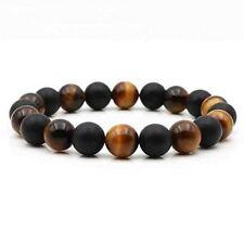 Handmade Elastic 10MM Matte Black Onyx And Tiger Eye Stone Bead Bracelet For Men