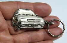 Ancien porte clé métal 3D Automobile Peugeot 205 GTI Talbot Garage Uzes Laborie