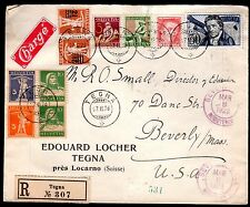SWITZERLAND US 1928 TEGNA REGISTERED MULTIFRANKED W/ SEMIPOSTALS & JOINT BLOCKS