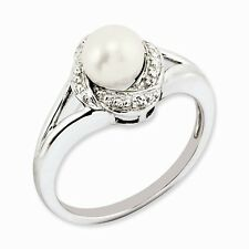 STERLING SILVER DIAMOND AND FRESHWATER CULTURED PEARL RING- SIZE 8