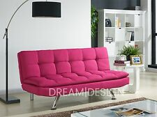Fabric Sofa Bed 3 Seater Padded Sofabed Chrome Legs Cube Design Various Colours Pink