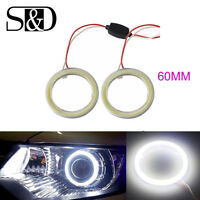 2X White 60MM COB LED Angel Eyes DRL Headlight Halo Ring Warning Lamps w/ Cover