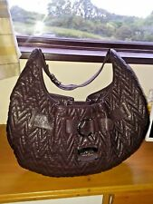THOMAS BURBERRY dark brown quilted leather large shoulder tote bag satin lining