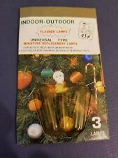 Vintage Christmas Mini Replacement Light Bulbs 3 Flashers NOS