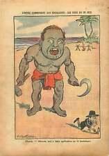 Caricature Politique Maurice Thorez & Léon Blum France 1937 ILLUSTRATION