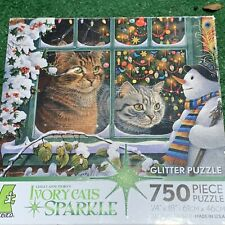 """Ceaco Ivory Cats Sparkle glitter 750 piece puzzle SIZE 24"""" X 18"""" Christmas kitty"""