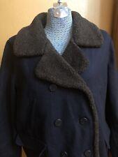 Women's American Eagle AE Wool Blend Coat Jacket Navy Blue Fleece Button XL
