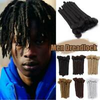 US Black 100% Handmade Dreadlocks Men Crochet Hair Extensions Real Sotf As Human