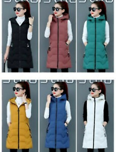 Ladies Hooded Long Zip Up Puffer Coat Women Padded Vest Gilet Jacket Body Warmer