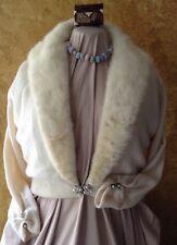 Vintage 1940's Regalia Furs Cashmere Sweater W/ White Mink Fur Collar Pristine
