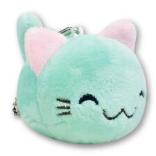 Turquoise Blue Round Kitty Cat Soft Plush Toy Stuffed Animals Keychain Cute New