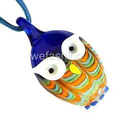 Blue Owl Handmade Lampwork Murano Glass Animal Bead Pendant Ribbon Necklace