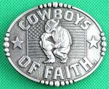 "Belt Buckle ""COWBOYS OF FAITH"" 3.8cm Wide Belt, DIY, Custom, Metal Casting."