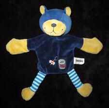Doudou Marionnette Ours bleu et jaune Abeille Miel Catimini 25 cm