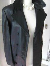 Ladies M&S black leather JACKET COAT size UK 14 12 goth double breasted military