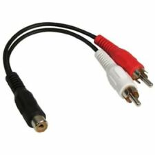 2x 6 inch RCA Female to 2 RCA Male Gold Plated Audio Adapter Y Splitter Cable 6""