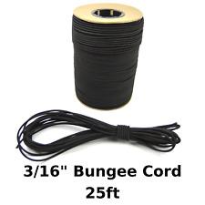 "25ft 3/16"" Black Bungee Cord Marine Grade Heavy Duty Shock Rope Tie Down Stretch"