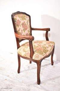 Wunderschöner Chippendale Armlehnstuhl Damenstuhl Barock Stil Gobelin Stoff