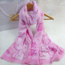 9b9f95c21 Women Girls Hello Kitty Scarf Shawl Tassel Voile Bali Yarn Scarfs Pink Soft  Gift