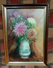 More details for vintage still life oil painting. signed. vase with flowers