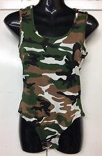 Women Army Leopard Print Muscle Bodysuit Racer Back Sleeveless Leotard Top