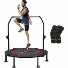 """40"""" Foldable Fitness Trampoline - Max Load 400 lb , Mini Rebounder With Handrail"""