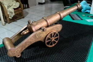 ANTIQUE JAVA CANNON BRASS HANDCRAFTED 36cm