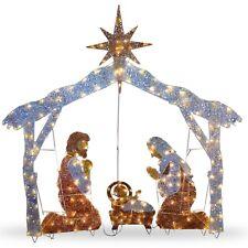 Outdoor Life Size Christmas Holiday Nativity Illuminated LED Lights Yard Decor