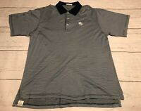 Men's Peter Millar Stripe Polo Golf Shirt-Size Large OS Logo Navy Blue Gray