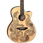 Luna Guitars Henna Dragon Select Spruce Acoustic/Electric Guitar Satin Natural for sale
