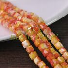 New 30pcs 8mm Cube Square Faceted Glass Loose Spacer Colorful Beads Red&Yellow