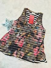 Weston Wear Women top M Medium Floral stripes tank top v-neck sleeveless b10