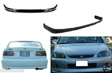 1999-2000 CIVIC 2 / 4 DOOR PU BLACK ADD-ON FRONT + REAR BUMPER LIP SPOILER