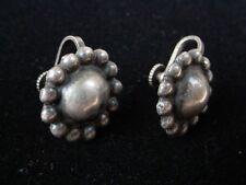 Vintage Early Mexican Sterling Silver Earrings sun flower shape