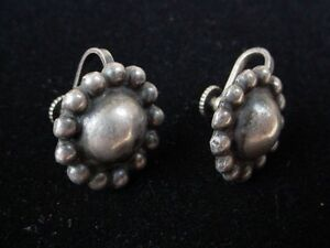 Vintage Early Mexican Sterling Silver Earrings sun flower shape