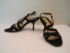 New Donna Karan Collection Black Satin Heel Strap Sandals Shoes  5.5 B 35.5 $250