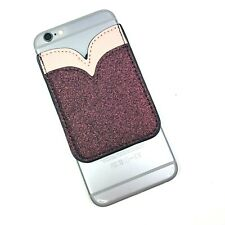 Pink Two Tone Glitter Tulip Sticky Cell Phone Pocket 3M Wallet Card Holder ID