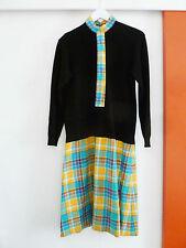 Robe retro vintage des années 60/70, col roulé, cravate, écossaise, T42, TTBE