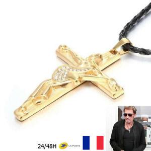 "Pendentif Chaine Collier JOHNNY HALLYDAY "" Guitare & Croix "" Diamant Doré Gold"