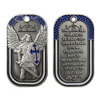 St Michael Dog Tag w/ Chain Law Enforcement Police BLM Challenge Coin