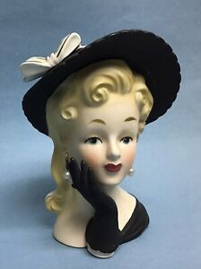 Vintage Relpo Lady Head Vase K1406 Gloved Hand Black Outfit with Pearl Earrings