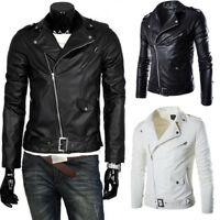 Mens British Style Leather Jacket Slim Biker Motorcycle Jacket Bomber Outwear #B