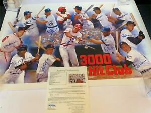 Stunning 3,000 Hits Signed Large 25x37 Lithograph Photo Hank Aaron 13 Sigs JSA