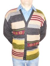 Vtg Men 100% Virgin Wool ITALY Design Handknit Striped Pattern Cardigan sz L Z30