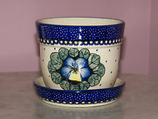 Genuine UNIKAT Polish Pottery Small Flower Pot with Saucer! Mila Pattern!