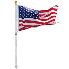 New listing 30 ft Telescopic Flag Pole Kit 16 Gauge Flagpole 3'x5' Us Flag & Ball Fly 2 Flag