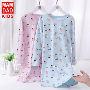 Girls 100% Cotton Nightdress Nightie Pyjamas Long sleeve Nightwear Age 2-15 Yrs